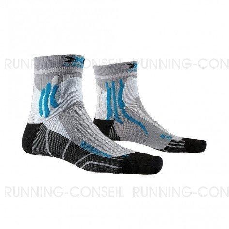 X-SOCKS Chaussettes Run Speed Two Mixte | Pearl Grey / Opal Black
